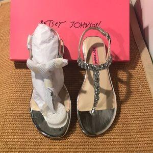 Betsy Johnson Sullivan Silver Crystal Stud Sandals